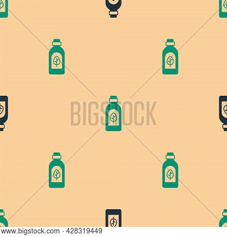 Green And Black Essential Oil Bottle Icon Isolated Green And Black Background. Organic Aromatherapy