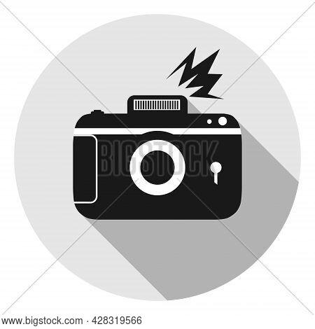 Retro Photo Camera. Retro Photo Camera Icon With Photo Flash On Gray Background. Vector Illustration