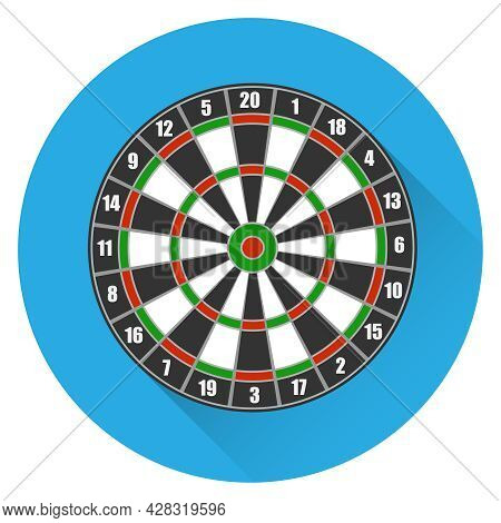 Darts. Circle For Playing Darts On A Blue Background With A Shadow. Vector Illustration. Vector.