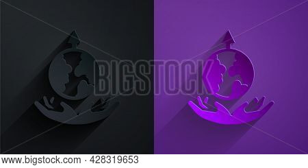 Paper Cut World Expansion Icon Isolated On Black On Purple Background. Paper Art Style. Vector