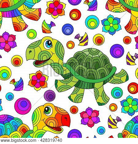 Seamless Pattern With Bright Cartoon Fun Turtles, Flowers And Fish, Colored Animals On A White Backg