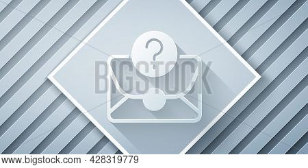 Paper Cut Envelope With Question Mark Icon Isolated On Grey Background. Letter With Question Mark Sy