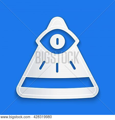 Paper Cut Masons Symbol All-seeing Eye Of God Icon Isolated On Blue Background. The Eye Of Providenc