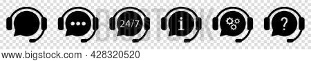 Hotline Support Service With Headphones. Call Center Icons Set. Vector Illustration On Transparent B