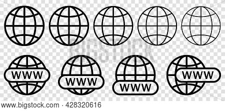 Website Icon Set. Www Search Bar Icon. Design For Web And Mobile App, Ui. Vector Symbols Isolated On