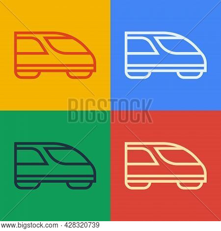 Pop Art Line High-speed Train Icon Isolated On Color Background. Railroad Travel And Railway Tourism