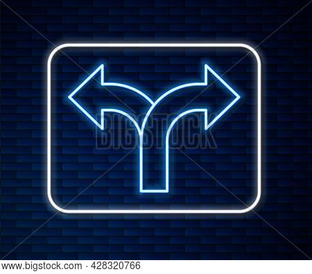 Glowing Neon Line Road Traffic Sign. Signpost Icon Isolated On Brick Wall Background. Pointer Symbol