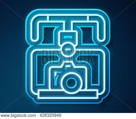 Glowing Neon Line Gimbal Stabilizer With Dslr Camera Icon Isolated On Blue Background. Vector