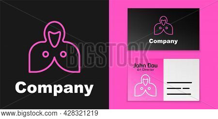 Pink Line Mantle, Cloak, Cape Icon Isolated On Black Background. Magic Cloak Of Mage, Wizard And Wit