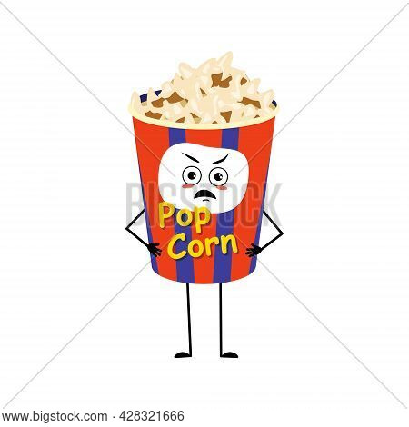 Cute Popcorn Character In A Holiday Box With Angry Emotions, Grumpy Face, Furious Eyes, Arms And Leg