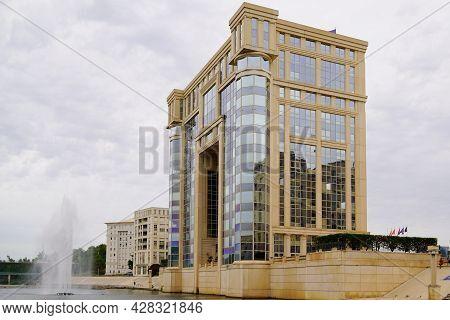Montpellier , Occitanie France - 07 25 2021 : Montpellier Occitanie Hotel De Region Building Means S