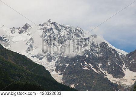 View Of Monte Rosa Summit From Macugnaga Village In Piedmont