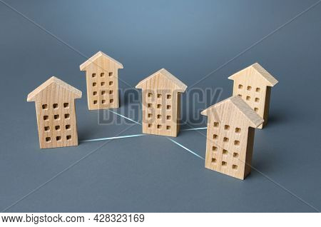 Houses Connected By Lines. Association Of Residential Into A Common Organization, Public Service Man
