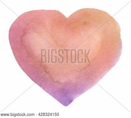 Multicolored Heart - Watercolor Pastel Spot. Hand Drawn Spot. Romantic Background For Logo, Headline