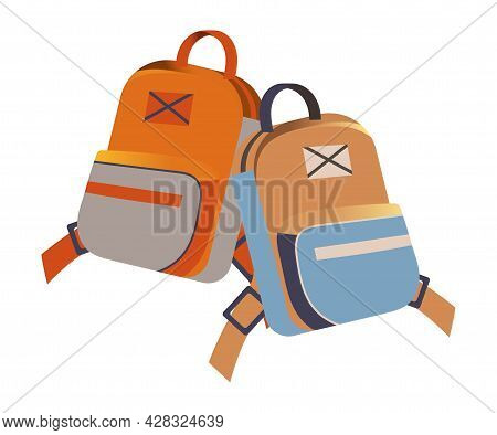 School Bag Or Satchel With Straps For Carrying Books Rested On The Ground Vector Illustration