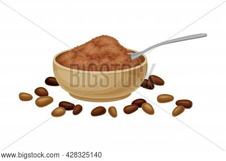 Ground Seeds Of Theobroma Cacao As Aromatic Chocolate Ingredient In Bowl Vector Illustration