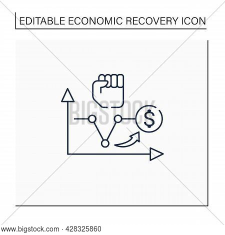 V Shaped Recovery Line Icon. Fluctuations.economic Decline, Short Trough, Rapid Recovery Periods. Bu