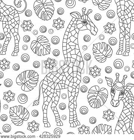 Seamless Pattern With Giraffs, Dark Contour Rainbow Animals, Flowers And Leaves On A White Backgroun