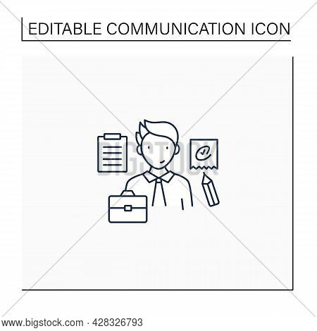 Written Communication Line Icon. Conveying Messages Through Written Symbols. Documentary. Writing Fo