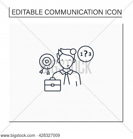 Ineffective Communication Line Icon. Lack Of Focus. Inability To Concentrate. Communication Barriers
