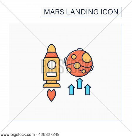 Mars Mission Color Icon. Responsible Research And Development Mission. Observe Planet.mars Landing C