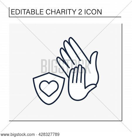 Protection Line Icon. Child Protection Organizations. Associations Save Children From Aggressive Par
