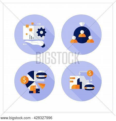 Asset Management Flat Icons Set. Financial Resources. Digital Management, Human Capital, Total Asset