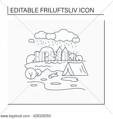 Camping Line Icon.tent On River Landscape Background. Bad Weather. Adventure Tourism. Green, Eco Tou