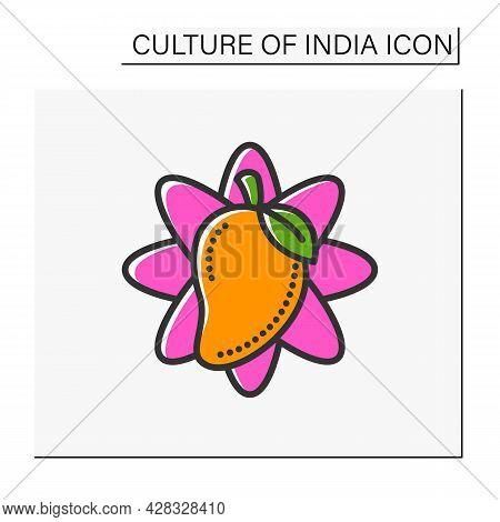 Mango Fruit Color Icon. Tropical, Exotic Fruit. Sacral, Totem Plant. Indian National Symbol. Indian