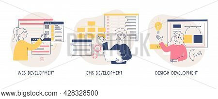 The Concept Of Creating A Site. Software Solution. Web Development. Cms System. Programming Metaphor
