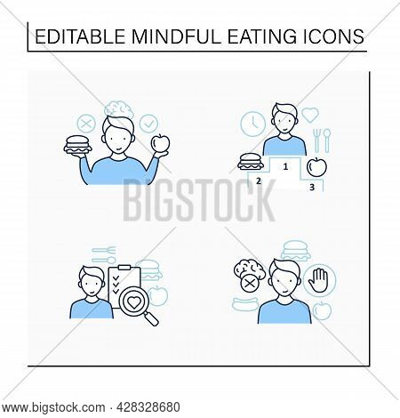 Mindful Eating Line Icons Set.conscious, Intuitive Nutrition. Shopping List.relationship With Food.