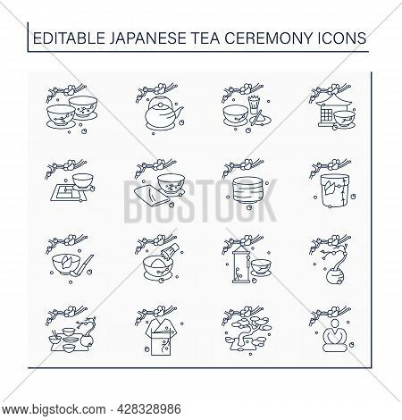Japanese Tea Ceremony Line Icons Set. Japanese Ethnic And National Ritual. Japan Ancient Tradition.