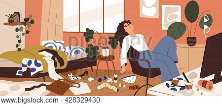 Lazy Woman With Mess Around At Home. Depressed Sluggish Person In Dirty Messy Room. Concept Of Apath