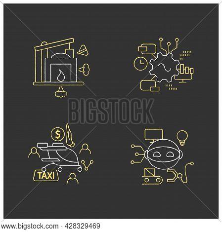 Digital Transformation Chalk Icons Set. Robot, Free Air Taxi, Software, Industry 1.0. Modern Technol