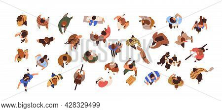 Top View Of People Going With Phones, Walking With Dogs, Standing, Sitting And Meeting. Overhead Set