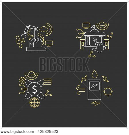 Digital Transformation Chalk Icons Set. Modern Technologies. Saving Energy, Tokenization, Electronic