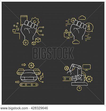 Digital Transformation Chalk Icons Set.industry 3.0, Industry 2.0, Information Revolution, Cyber Rev