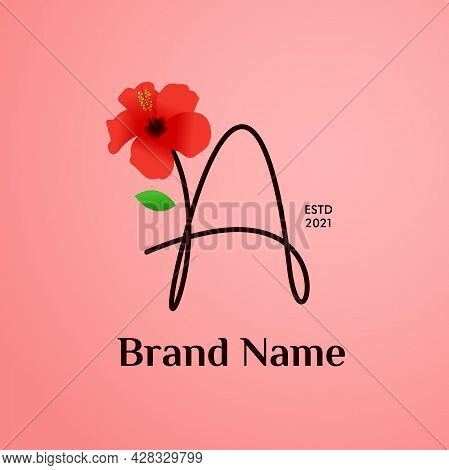 Beauty And Charming Simple Illustration Logo Design Initial A Combine With Shoe Flower.