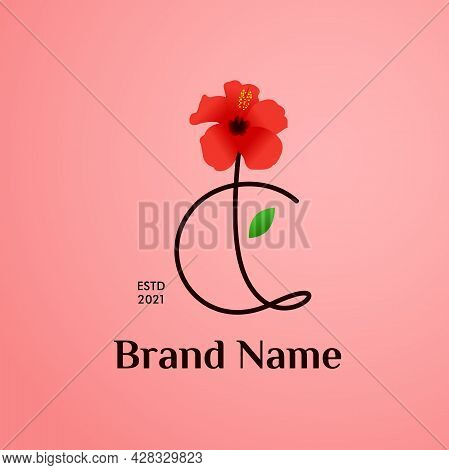 Beauty And Charming Simple Illustration Logo Design Initial C Combine With Shoe Flower.