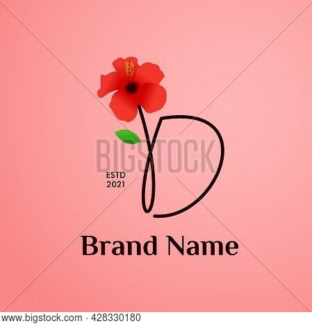 Beauty And Charming Simple Illustration Logo Design Initial D Combine With Shoe Flower.