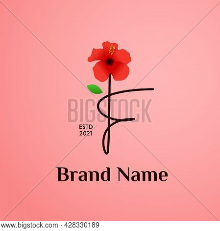 Beauty And Charming Simple Illustration Logo Design Initial F Combine With Shoe Flower.
