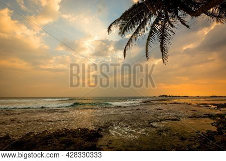 evening landscape on tropical ocean beach