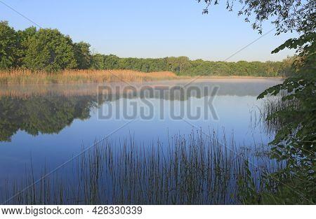 nice morning landscape on blue river. Take it in Ukraine