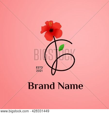 Beauty And Charming Simple Illustration Logo Design Initial G Combine With Shoe Flower.