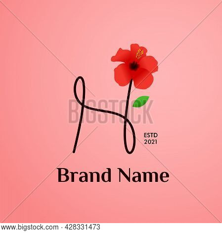 Beauty And Charming Simple Illustration Logo Design Initial H Combine With Shoe Flower.