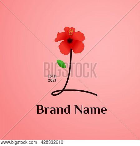 Beauty And Charming Simple Illustration Logo Design Initial L Combine With Shoe Flower.