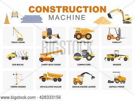 Set Construction Machine Of Real Estate Vector Illustration. There Are Various Types Of Truck, Heavy