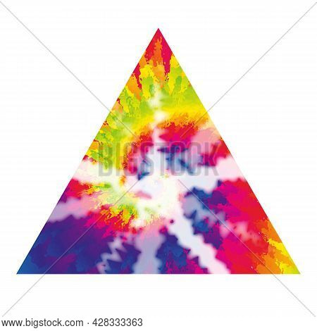 70s Shibori Tie Dye Abstract Background In Triangle Shape Hippie Style Psychedelic Fabric Boho Desig