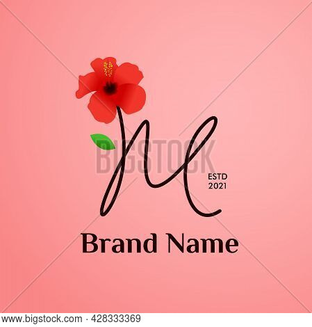 Beauty And Charming Simple Illustration Logo Design Initial M Combine With Shoe Flower.