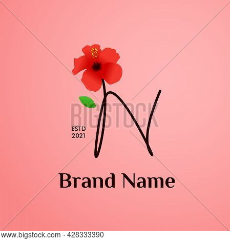 Beauty And Charming Simple Illustration Logo Design Initial N Combine With Shoe Flower.
